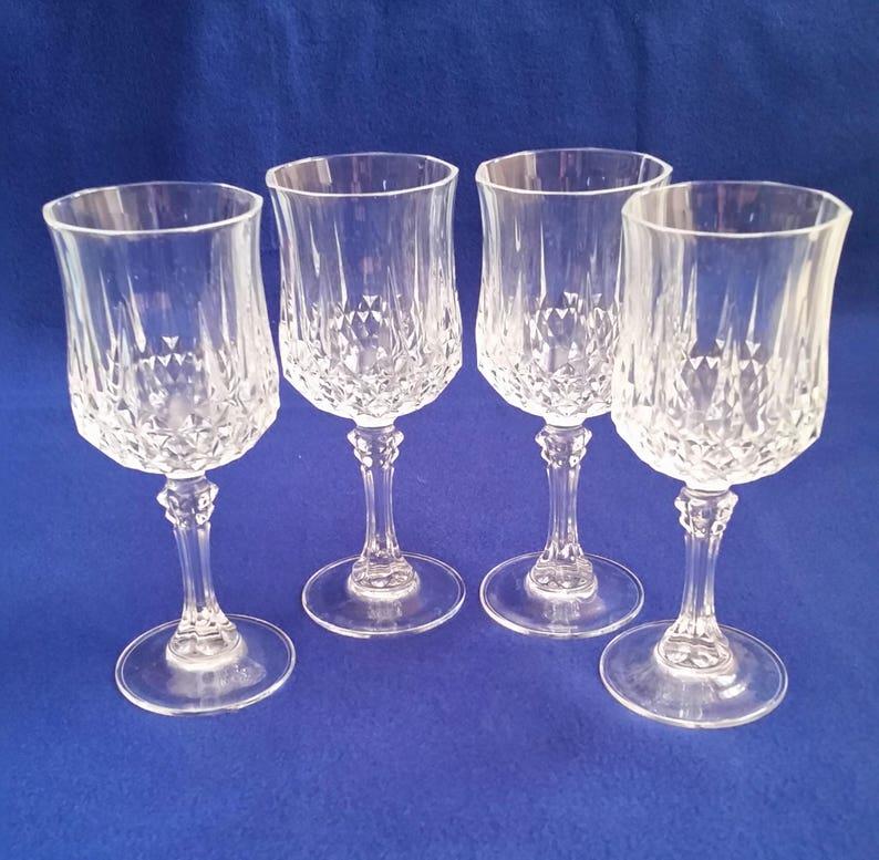 Cristal Darques Verres.Cristal D Arques Longchamp Vin Verres Cristal Vin Verres Vintage Mariage Cristal Vin Verres Mariage Cristal Barware Cristal Lot De 4