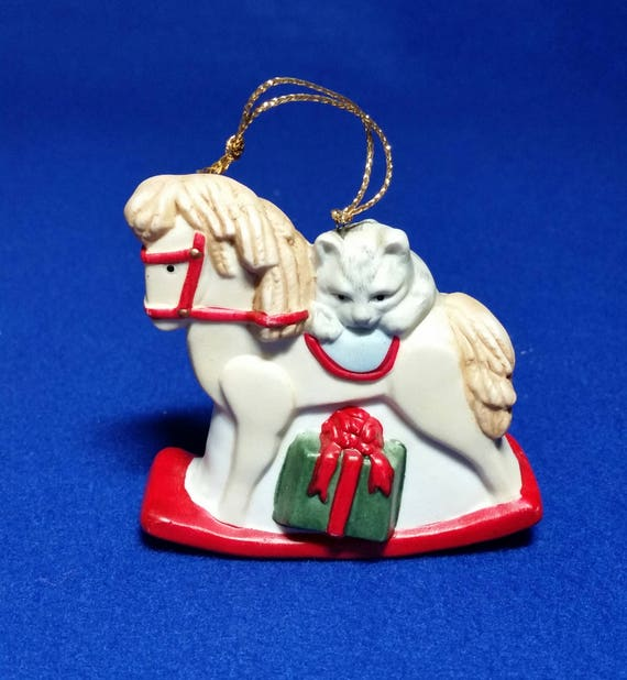 Marcel schurman rocking horse with cat christmas etsy image 0 m4hsunfo