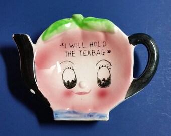 HOLD FOR DEBBIE / Tea Bag Holder / Teapot Smiley Face Tea Bag Holder / Teapot Tea Bag Holder / Pink Teapot Tea Bag Holder
