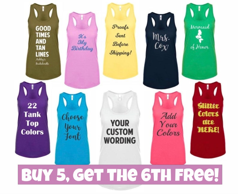 90c8e87d5e446 Bridesmaid Tank Tops Bridal Party Tank Tops Bridesmaid