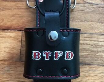 Custom Firefighter Leather Radio Holster
