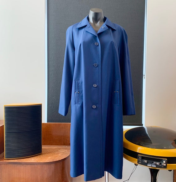 Vintage 1970's Navy Blue Virgo Trench Style Coat