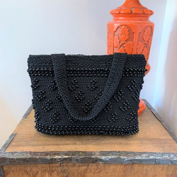 Retro 1990's Black Beaded Woven Fabric Handbag