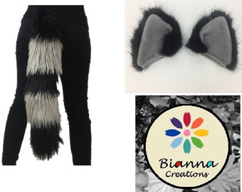 Kawaii Cosplay Set Raccoon, Silver and Black Short Fur Ears and Long Fur Tail, Fake Fur, Costume Pet Play Combo, Fuzzy Fluffies Accessories