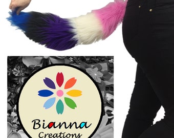 "Bianna Luxury Fluidgender Tail, Pink White Purple Black Blue Soft Faux Fur Striped, 20 25 30 35 40"" You choose, Gay Pride Parade"