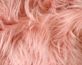 Light Peach Coral Luxury Faux Fur Fabric Piece - Pick size, DIY Craft, Square, Rectangle, Less than a yard, Alternative, Shag Shaggy