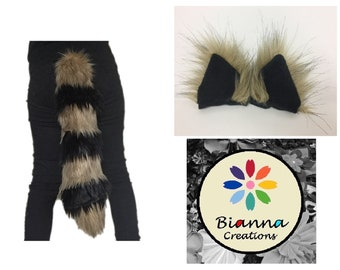 84f281281e2 Kawaii Cosplay Set Raccoon Golden Brown and Black Ears and Tail