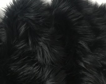 Bianna Quality BLACK Long Pile Faux Fur Fabric, Shag Shaggy Material in Pieces, Squares for Crafts, Fursuit, Cosplay, Halloween Costumes