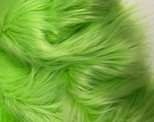 Bianna Quality LIME GREEN Long Pile Faux Fur Fabric, Shag Shaggy Material in Pieces, Squares for Crafts, Fursuit, Cosplay Halloween Costumes