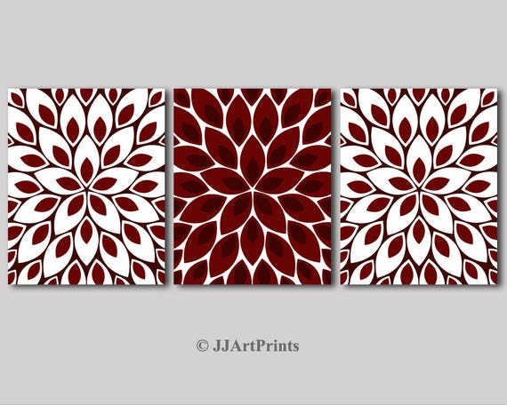 Printable Burgundy And White Wall Art Download Burgundy Red Etsy