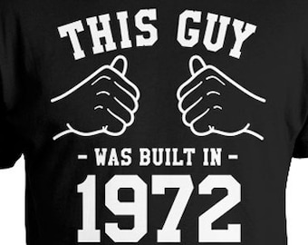 Funny Birthday Shirt 45th T Bday Gift Ideas For Him Custom TShirt Personalized This Guy Was Built In 1972 Mens Tee TGW 855