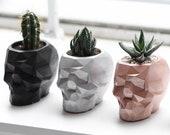 Geometric Skull Concrete Planter| Cement Succulent Pot | Gothic Home Decor | Dia De Los Muertos | Halloween Decor