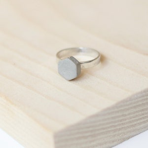 Concrete Jewelry Minimalist Natural Stone Ring Concrete Hexagon Ring With Silver Band Cool Alternative Engagement Statement Ring