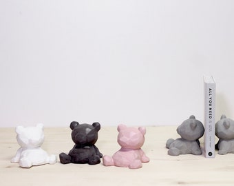 Pigmented Concrete Bear Bookends for Nurseries and Kids Bedroom Decor