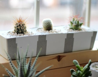 Rectangular concrete planter   Etsy