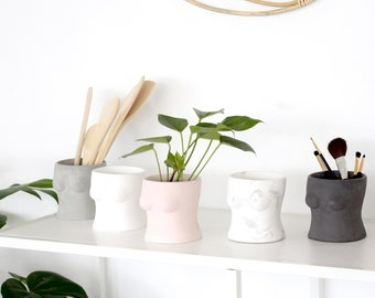Boob Planter and Vase in Concrete with Drainage