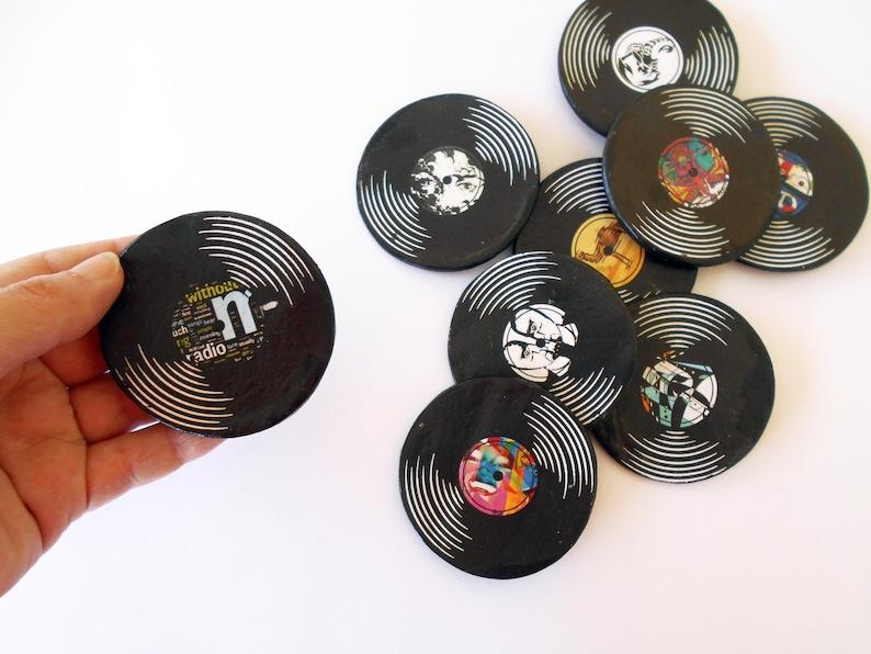 Miniature Custom Vinyl Record Discs, Fridge Magnets, Music lover Gift,  Classic Rock Party Favors, Wedding Retro Theme Favors, Reunion Gifts