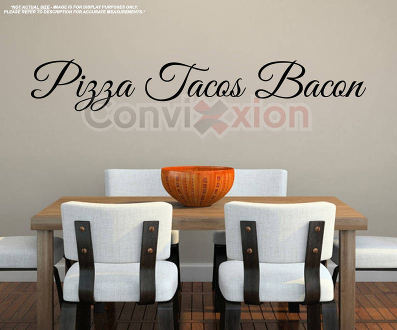 pizza tacos bacon wall decal kitchen wall vinyl decal live | etsy