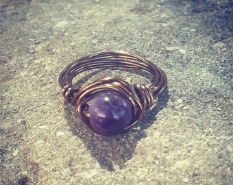8mm natural amethyst wire wrapped glass bead ring