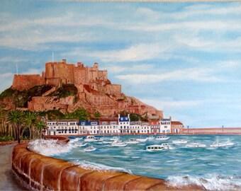 Mont Orgueil Castle, Jersey, Channel Islands. Original oil painting, ready to ship.