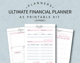 A5 Financial Planner, Finance Tracker, Expense tracker, Budget Planner, Bill Organizer, Dave Ramsey,