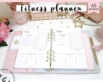 Printed Health and Fitness Planner, Daily Planner, Health Planner, Fitness journal, Fitness Tracker, Workout Log, Food Diary, Meal Planner