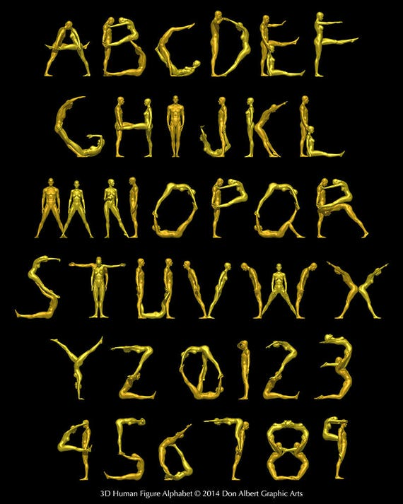 Alphabet Art Abc Poster Print Human Alphabet Word Play Letter Design Letterforms Numbers Punctuation Gold Metallic