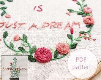 plus BONUS pattern / Floral Wreath embroidery pattern_pdf/jpeg instant download_love is just a dream_flower/lettering