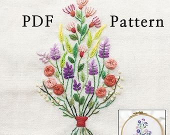 NEWBonusFreePattern__Beautiful Roses in the Bouquet+Reversed Pattern_InstantDownload files_Hand Embroidery Pattern_embroidery pattern_flower