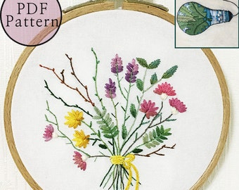 plus_ Bonus Free Pattern_Little Dried Flowers__PDF files_+Reversed Pattern_instant download files_Hand Embroidery Pattern_NewUpdatedGuide!