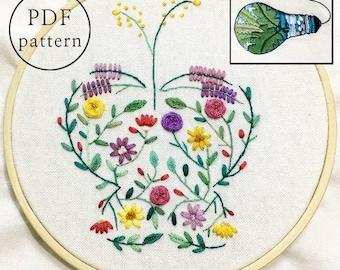 plus_ Bonus Free Pattern_Flower Butterfly__PDF files_+Reversed Pattern_instant download files_Hand Embroidery Pattern_NewUpdatedGuide!