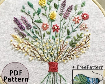 plus_ Bonus Free Pattern_Dried flower bouquet__PDF files_+Reversed Pattern_instant download files_Hand Embroidery Pattern_NewUpdatedGuide!