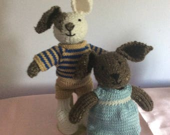Hand Knit Bunny Set, Ready to ship NOW!!
