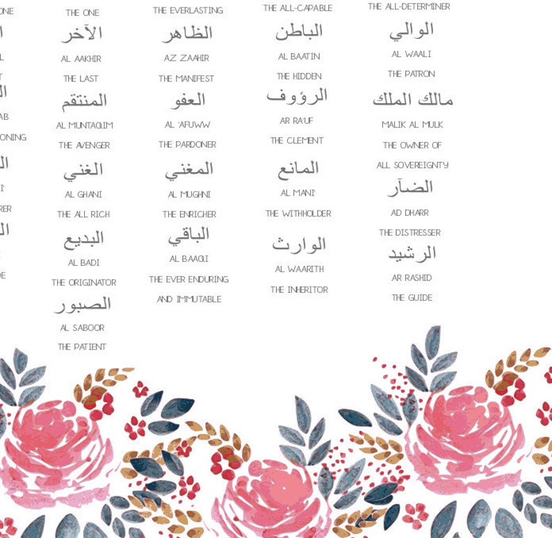 Floral 99 Names of Allah Poster Print Available with Frame!