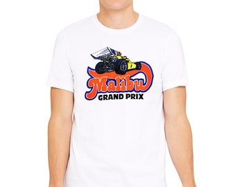 Malibu Grand Prix Logo 2.0 Vintage Go Kart Racing Men s White T-Shirt c8c556d65