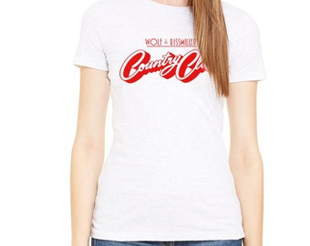 Wolf and Rissmiller's Country Club Hollywood Rock N Roll Venue Women's White T-Shirt