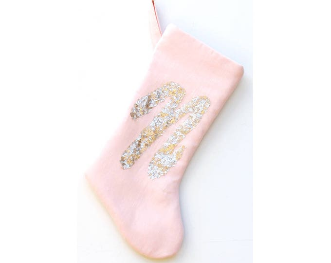 Featured listing image: Stardust Pink Sequin Christmas Stocking, Baby's First Christmas, Girls Holiday Stockings, Blush Gold Decor, Personalized Holiday Stocking