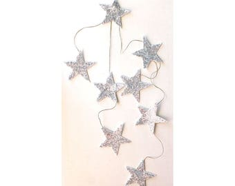 Star Garland Linen Fabric Sequin Star Garland Fall Decor Christmas Decor Christmas Garland Nursery Decor Girls Room Decor  Party Decor