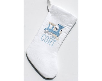 Baby's First Christmas Train Stocking, Blue and White Holiday Stocking, Kids Christmas Stocking, Vintage Christmas Train Stocking