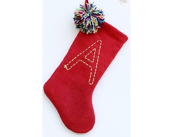 Jolly Colorful Christmas Stocking, Boho Holiday Stocking, Pom Pom Stocking, Personalized Christmas Stocking, Kids Christmas Stocking