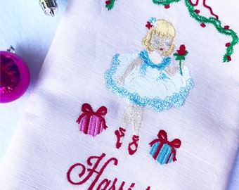 Christmas Ballerina Floral Swag Stocking, Baby's First Christmas Stocking, Girls Holiday Stocking, Pink Christmas, Personalized Stocking