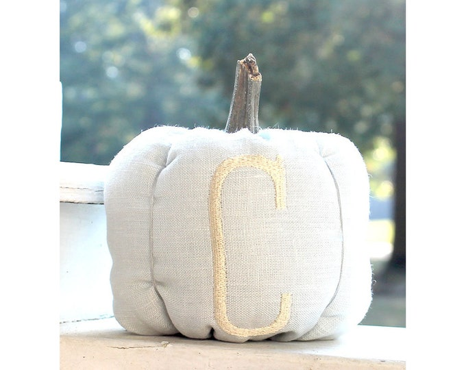 Featured listing image: Blue Pumpkin, Fall Decor, Personalized Pumpkin, Pumpkin Party, Nursery Decor, Monogrammed Pumpkin, Linen Fabric Pumpkin, Baby Boy Gift