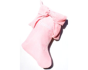Pink Velvet Bow Christmas Stocking, Baby's First Holiday Stocking, Girls Christmas Stocking, Personalized Holiday Stocking, Monogrammed