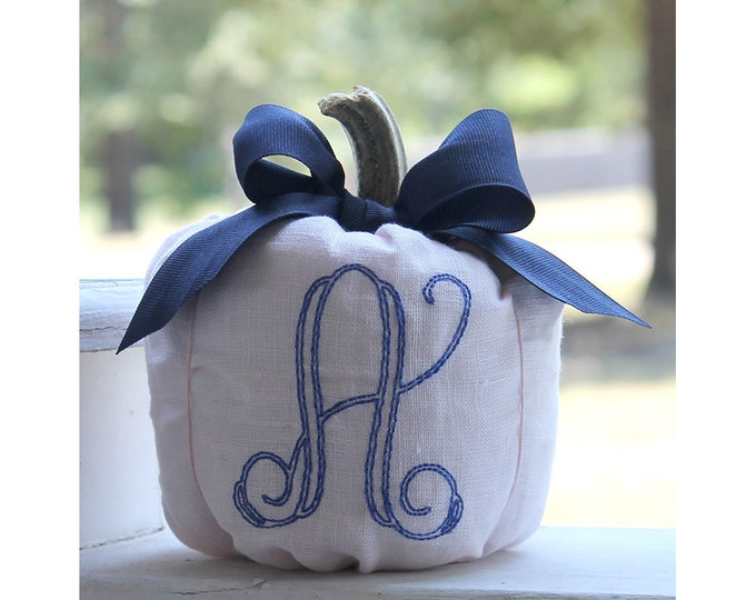 Featured listing image: Pink Pumpkin, Fall Decor, Monogrammed Pumpkin, Autumn Decor, Babys First Pumpkin, Linen Fabric Pumpkin, Nursery Decor, Baby's First Birthday