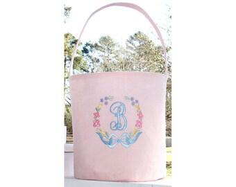 Monogrammed Easter Basket - Easter Bucket - Personalized Easter Tote -  Babys First Easter - Girls Easter Basket Fleur