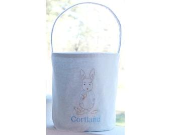 Personalized Easter Basket - Monogrammed Easter Bucket - Easter Tote- Peter Rabbit - Babys First Easter - Vintage Easter