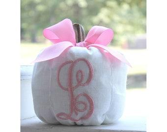 White Pumpkin, Pink Pumpkin, Monogrammed Pumpkin, Fall Decor, Pumpkin Party, Autumn Decor, Thanksgiving, Nursery Decor, Baby Girl Gift