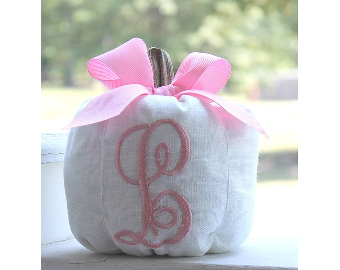 Featured listing image: White Pumpkin, Pink Pumpkin, Monogrammed Pumpkin, Fall Decor, Pumpkin Party, Autumn Decor, Thanksgiving, Nursery Decor, Baby Girl Gift