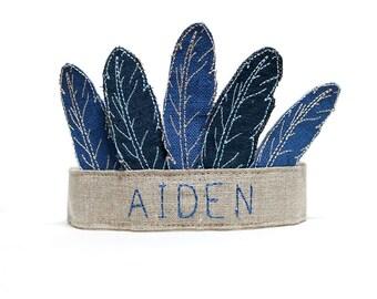 Boys Crown - Boys Birthday - Babys First Birthday - Boys Feather Crown - Baby Boy - First Birthday -  Pow Wow Party - Keepsake Crown