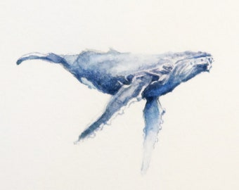 Humback Whale, miniature watercolor painting